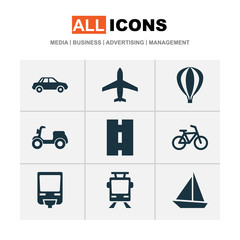 Transport Icons Set. Collection Of Way, Airship, Bicycle And Other Elements. Also Includes Symbols Such As Boat, Bicycle, Flight.