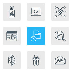 Vector Illustration Of 9 Data Icons. Editable Pack Of Encoder, Data Error, Data Security And Other Elements.