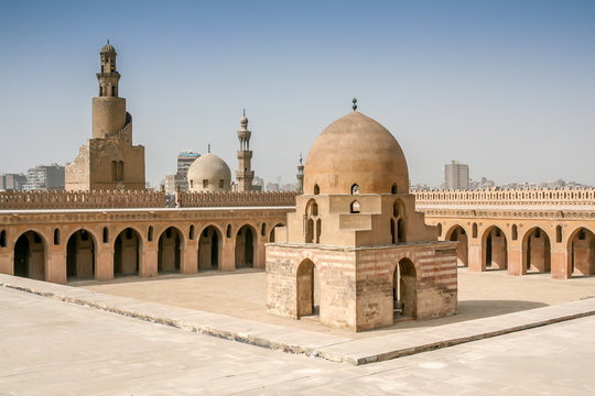 Mosque Ibn Tulun in Cairo with spiral minaret, Egypt