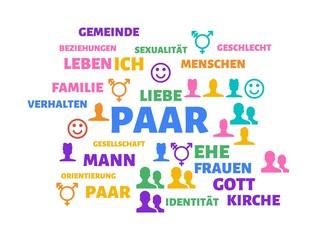 PAAR - Bilder mit Wörtern aus dem Bereich Homosexualität, Wort, Bild, Illustration