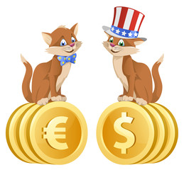 One cat in blue bow tie sits on euro symbols and another cat in the american patriotic hat sits on dollar symbols. Cartoon styled vector illustration. Elements is grouped. Isolated on white.