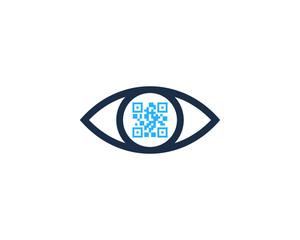 Eye Barcode Icon Logo Design Element