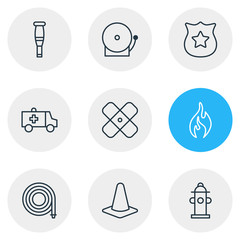 Vector Illustration Of 9 Emergency Icons. Editable Pack Of Water, Siren, Taper And Other Elements.
