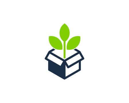Green Box Icon Logo Design Element