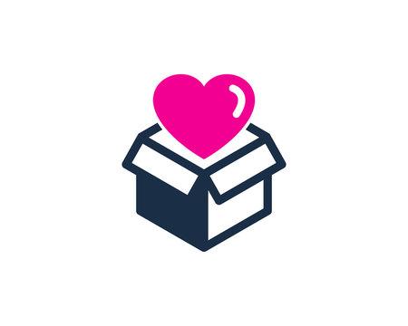 Love Box Icon Logo Design Element
