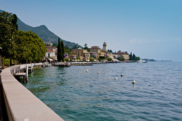 The tipical village of Gardone Riviera on Garda Lake in lombardy district. Italy