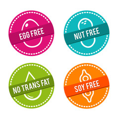 Wall Mural - Set of Allergen free Badges. Egg free, Nut free, No Trans Fat, Soy free. Vector hand drawn Signs. Can be used for packaging Design.