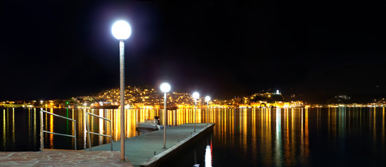 Poros town at night, Greece