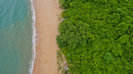 Aerial  view from flying drone at  beach and sea