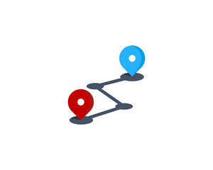 Route Icon Logo Design Element