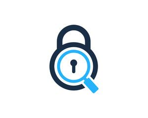 Lock Search Icon Logo Design Element