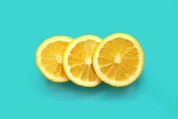 Three pieces of juicy lemon  Wall mural