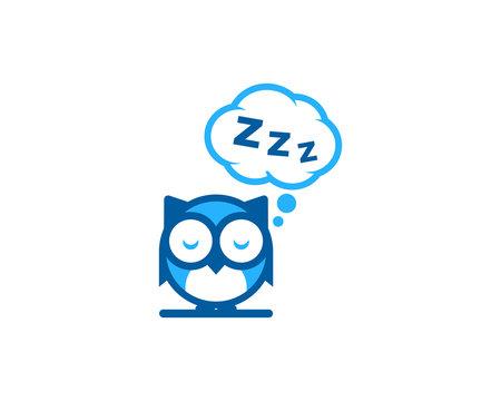 Owl Sleep Icon Logo Design Element