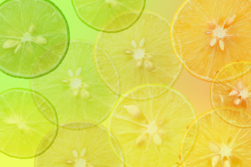 colorful fresh background with lime cut half