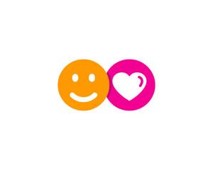 Happy Love Social Network Icon Logo Design Element
