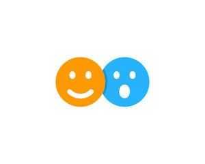 Happy Surprised Social Network Icon Logo Design Element
