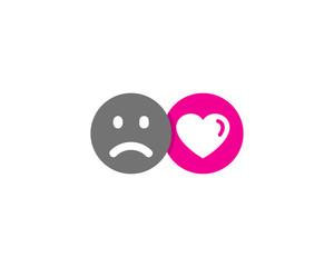 Sad Love Social Network Icon Logo Design Element