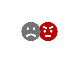 Sad Angry Social Network Icon Logo Design Element
