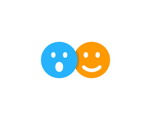 Surprised Happy Social Network Icon Logo Design Element