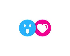 Surprised Love Social Network Icon Logo Design Element