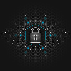 Safety concept. Global security. Closed padlock, glitter and hexagon shapes on vector abstract dark technological background.
