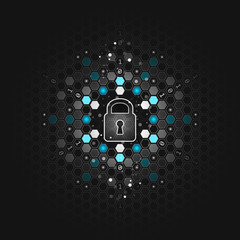 Global security concept. Abstract dark technological background. Lock, hexagon and circuit board. Vector design.