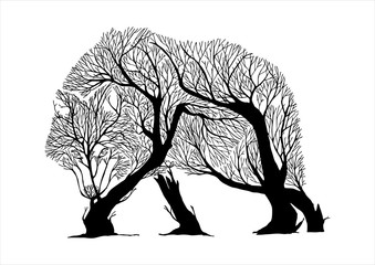 Mysterious aggressive Wolf walking slowly and hunt silhouette double exposure blend tree drawing tattoo vector