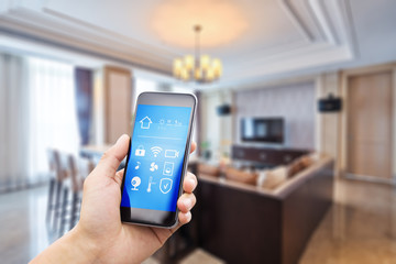 mobile phone with living room in smart home