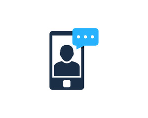 People Mobile Feedback Testimonial Icon Logo Design Element