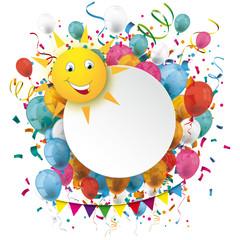 Golden Paper Circle Balloons Confetti Funny Sun