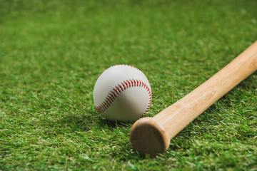 Close-up view of wooden baseball bat with ball on green grass