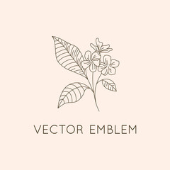 Vector logo design template - floral illustration in simple minimal linear style