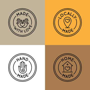 Vector set of emblems, badges and icons for handcrafted goods  crafters and designers selling unique, handmade goods - round tags for packaging and lables