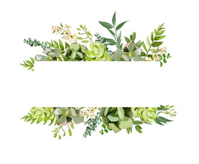 Vector floral design horizontal card design. Soft succulent, cactus flower garden eucalyptus green fern seasonal branches leaves mix. Greeting invitation wedding editable. Frame border with copy space