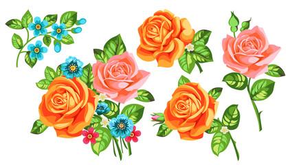 Set of orange roses in bouquets