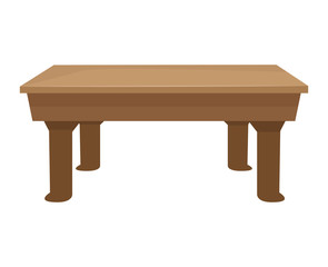 Wooden table isolated illustration on white background