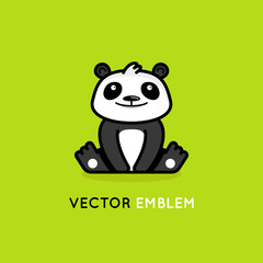 Vector logo design template in cartoon flat linear style - little smiling panda bear