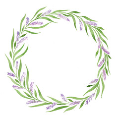 lavender Grass wreath watercolor