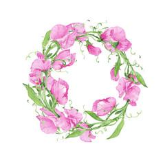 Flowers wreath watercolor pink