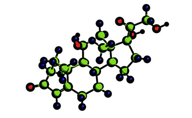 Molecular structure of hormone cortisol, 3D rendering