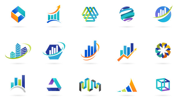 Marketing, finance, sales, media and business abstract logos and icons