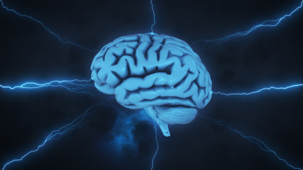 Brainstorm - 3D render of brain in stormy sky with lightning