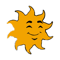 smile sun cartoon mascot character vector illustration