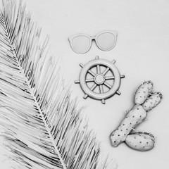 Sea set. Cactus, glasses, helm. White paint. Minimal