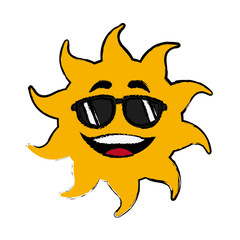 sun cartoon sunglasses mascot character vector illustration