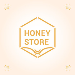 Vector logo template for honey store. Bee wings in the form of an open book. Can be used for textile design, design of banners, company identity. Creative logotype. EPS10.