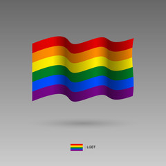Flag of the LGBT community with correct color scheme. Rainbow gay pride flag blowing in the wind. High detailed vector illustration. 3d and isometry. EPS10