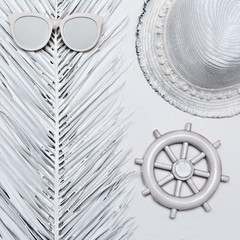 Vacation accessories. Glasses and Hat. White paint. Minimal