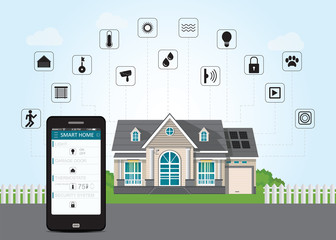Smart home with smart phone technology conceptual system.
