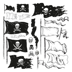 Vector illustrated set of various waving pirate flags